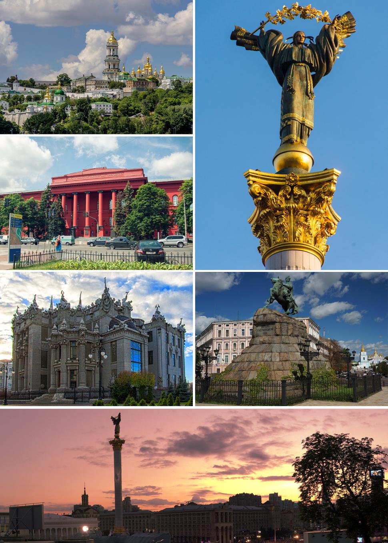 Counterclockwise (from upper right): Verkhovna Rada, Kiev Pechersk Lavra, Red University Building, House with Chimaeras, Independence Square, statue of Bohdan Khmelnytsky