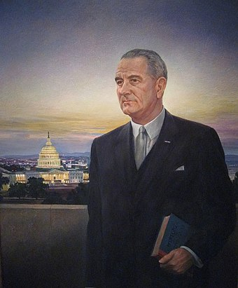 Johnson's image as it appears in the National Portrait Gallery in Washington, D.C. LBJ National Portrait Gallery.jpg