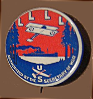 """Loyal Legion of Loggers and Lumbermen - Pinback button issued by the so-called """"Four L."""" The plane and ship signified the ostensible end uses of Pacific Northwest wood."""
