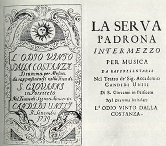 La serva padrona - Title page of a vintage opera program