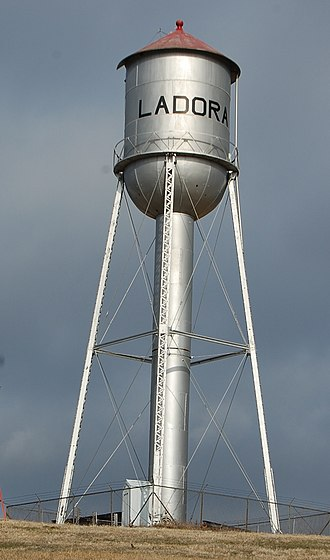 Ladora, Iowa - Water tower in Ladora