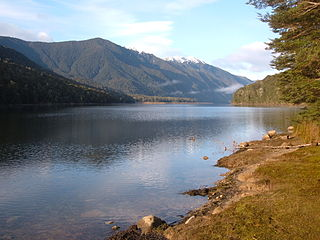 Lake Monowai lake in Southland Region, New Zealand