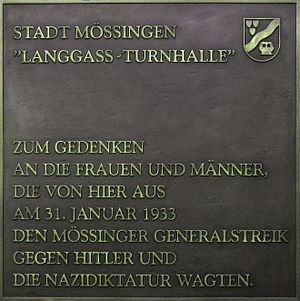Mössingen - Memorial plate Langass gym