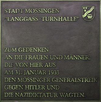 Mössingen - Memorial plate Langass gym