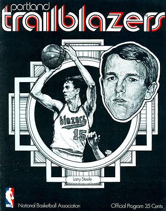 Larry Steele - Steele on the cover of a Portland Trail Blazers program in 1971.