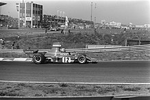 Lauda sul circuito di Zandvoort nel 1974, alla guida della Ferrari 312 B3-74
