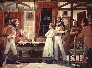 Laura Secord warning Lieutenant James Fitzgibb...