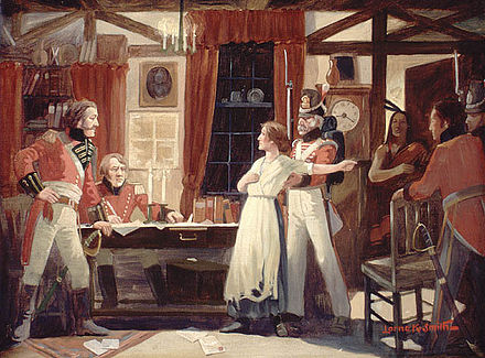 Laura Secord providing advance warning to James FitzGibbon, which led to a British-Iroquois victory at the Battle of Beaver Dams, June 1813 Laura Secord warns Fitzgibbons, 1813.jpg