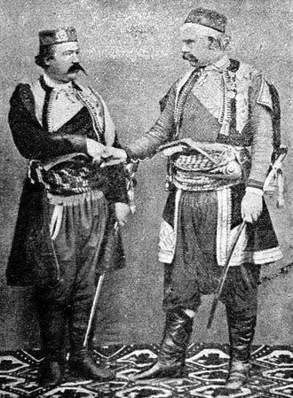 Marko Miljanov - Herzegovinian chieftain Lazar Sočica and Marko Miljanov shaking hands.
