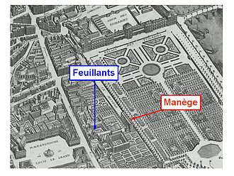 Couvent des Feuillants - Buildings of the salle du Manège and the couvent des Feuillants on the plan de Turgot (1736).