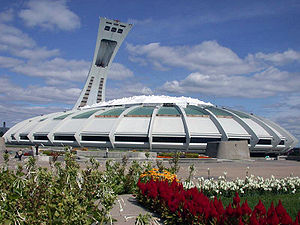 Venues of the 1976 Summer Olympics - Olympic Stadium in 2006. At the time of the 1976 Summer Olympics, the tower and retractable roof were incomplete.
