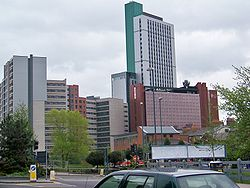 Leeds Met buildings including the Plaza Tower.jpg