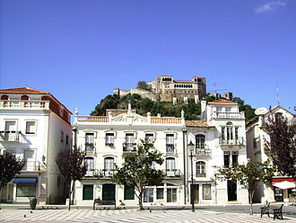 Leiria - Main square and Leiria Castle uphill.