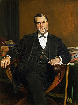 History of Stanford University - Leland Stanford, the university's founder, as painted by Jean-Louis-Ernest Meissonier in 1881 and now on display at the Cantor Center