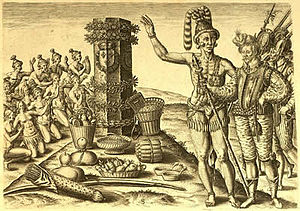 Timucua - One of the engravings based on Jacques le Moyne's drawings, depicting Athore, son of the Timucuan chief Saturiwa, showing René Laudonnière a monument placed by Jean Ribault
