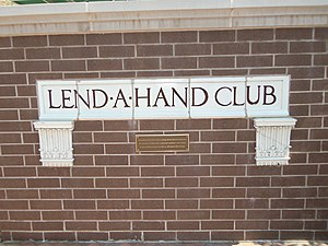 Lend-A-Hand Club - The Lend-A-Hand sign from the old building at the new facility at Third and Ripley Streets