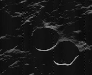 Lents (crater) - Oblique Lunar Orbiter 5 image with Lents at center and Lents C below right, facing west