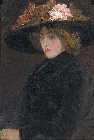 Femme au Chapeau - Image: Leo Gestel Portrait of an elegant lady with a hat c 1904 1906