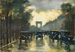 Champs-Elysees with Arc de Triomphe, Paris