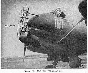 Lichtenstein radar - A Ju 88R night fighter with the full Matratze aerial setup for the Lichtenstein B/C UHF band radar.