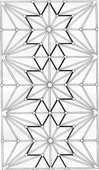 Lierne (vault) - Plan of lierne vault - Ely Choir, (liernes are shaded black).