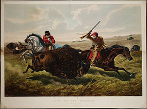 Arthur Fitzwilliam Tait - Life on the Prairie, The Buffalo Hunt, Arthur Fitzwilliam Tait, lithograph by Currier & Ives, 1862