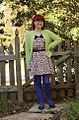 Lime Green Cardigan, Pink Leopard Print Dress, Bright Blue Tights, and Black Mary Jane Flats (16473888353).jpg