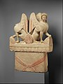 Limestone funerary stele (shaft) surmounted by two sphinxes Greece 5th century BCE.jpg