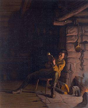 Louis Prang - Lincoln as a boy, reading at night, by Eastman Johnson