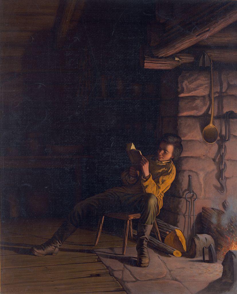 Filelincoln as a boy reading at night jpeg