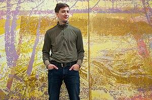 Greg Lindquist - Greg Lindquist in his studio with Duke Energy's Dan River I (both 2014) and Duke Energy's Dan River II, 2017