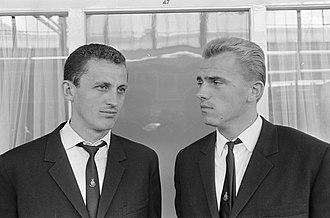 Nemzeti Bajnokság I - Ferencváros legend Albert with Vasas legend Mészöly in the 1960s