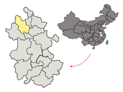Location of Bozhou City jurisdiction in Anhui