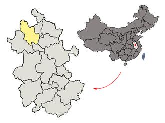 Bozhou - Image: Location of Bozhou Prefecture within Anhui (China)