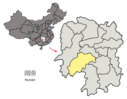 Location of Shaoyang City jurisdiction in Hunan