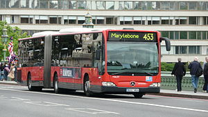 London Buses route 453 - London General Mercedes-Benz O530G on Westminster Bridge in June 2009