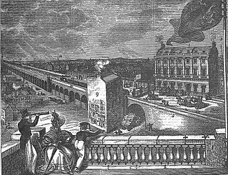 London Bridge station - The original London and Greenwich Railway station at the time of the opening of the line in December 1836 before the roof was erected, and before the ground in front of the group of spectators was cleared to build the original Croydon station