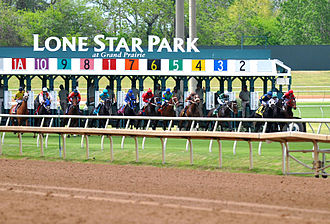 Gambling in Texas - Horses start out of the gate at Lone Star Park