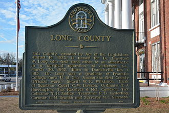 Long County, Georgia - Plaque at the Long County, Georgia courthouse
