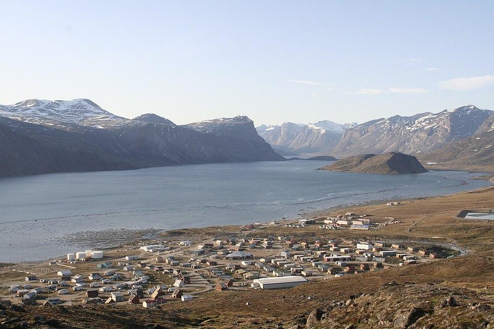 Looking down on Pangnirtung, Nunavut -f