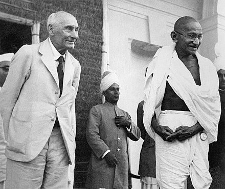 Gandhi with Lord Pethwick-Lawrence, British Secretary of State for India, after a meeting on 18 April 1946 Lord Pethic-Lawrence and Gandhi.jpg