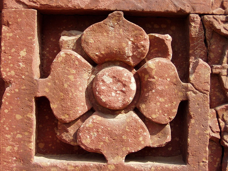 Lotus, a typical Hindu temple motive, in red sandstone, Qutb complex