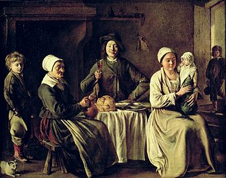 1642 in art - Image: Louis Le Nain Happy Family 1642 Louvre