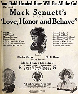 <i>Love, Honor and Behave</i> (1920 film) 1920 film
