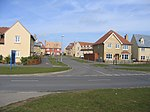 Lower Cambourne scene, Cambs. View of homes where Quidditch Lane joins School Lane in the new settlement of Cambourne.
