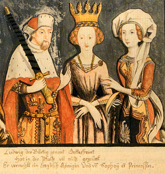 Blanche of England - Blanche (middle) with her husband and his second wife Matilda as depicted in 1435
