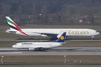 Narrow-body aircraft - Narrow-body Boeing 737 in front of a Boeing 777 wide-body