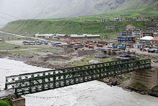 Bridge over the Chandra River between Khoksar (on the south bank) and Damphug (on the north bank)