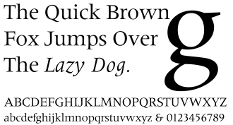 Serif - Méridien, an example of a Latin typeface. Méridien is a quite restrained example of the genre; other designs in the style have much more exaggerated serifs.