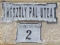 Mészöly Pál utca 2, street name sign, 2019 Kunszentmiklós.jpg